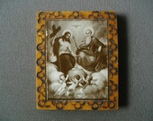 Vintage Religious Picture Of The Father The Son And Three Angels Dove Cross Wood Plaque
