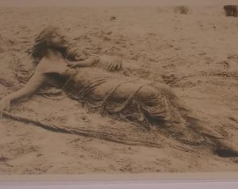 Antique Jesus Holding Child Sand art Unique Real Picture Postcard