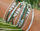 Leather Boho Wrap  Bracelet - Silver Tube Beaded Bohemian Triple Wrap w/ Silver Chain Bracelet  - Pick SIZE / COLOR  - Made In Usa 011