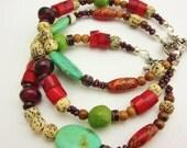 Rustic Bohemian Mixed Stone Bracelet, Turquoise, Colorful, Energy, Gemstone, Boho Gypsy, Hippy Hippie