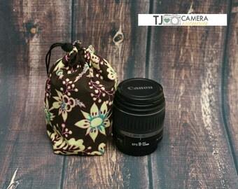 Dslr Accessories, Camera Gear, Fabric Lens Pouch, Storage Bag, Nanette Retro, Lime Print
