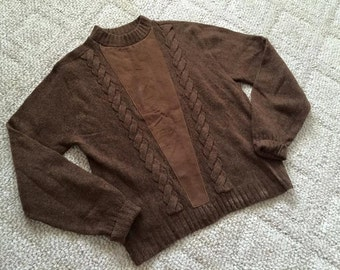 Vintage Hep Men's 1960's Shetland Wool and Suede Crew Neck Sweater Pullover -- Size M-L