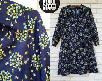 Navy Blue Shift Dress with Yellow, Green and White Dot Pattern! Super Cute! Plus Size!