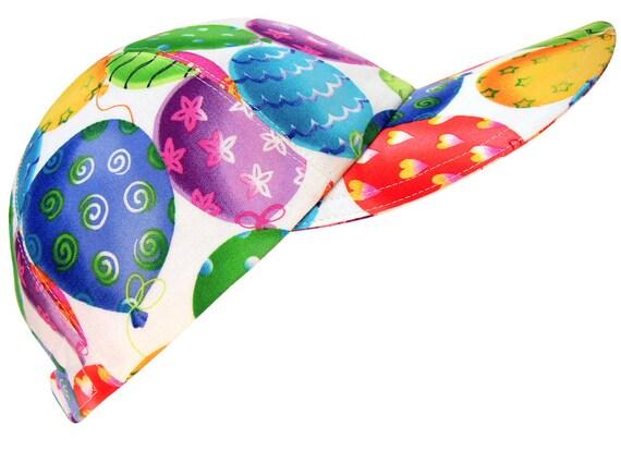 Ballooney Tunes - Bright Balloons on White Birthday Party Fashion Baseball Cap Hat