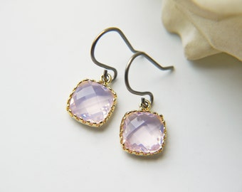 Violet Opal Glass Titanium Earrings Pastel Opalescent Dainty Gold Square Everyday Earrings