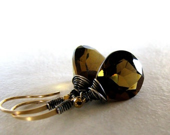 Copper Brown Earrings, Beer Quartz Earrings, Gold Earrings, Sterling Silver, Mixed Metals - Iced Honey