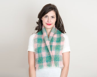 Vintage Scottish Plaid Mohair Scarf - 1950s Pastel Pink & Green Tartan Made in Scotland by HandAcraft