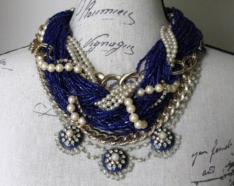 Royal Blue & Pearl MultiStrand Statement Necklace featuring Rhinestones, Chunky Gold Chains and Kramer of NY Necklace - by Boutique Bijou