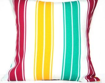 Cabana Stripes Pillow Covers Cushions Coastal Nautical Red Yellow Turquoise White Decorative Pair 18x18