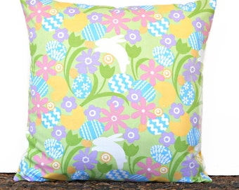 Easter Bunny Pillow Cover Eggs ChicksTulips Floral Lime Green Pink Purple Blue Yellow White Decorative 18x18