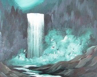 Nighttime Waterfall, an original oil painting
