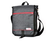 Dani, the Unisex messenger bag and backpack. Grey Wool-Polyester mix with red details and lining. Multiple pockets purse