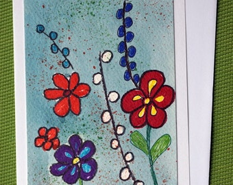 Fantasy Flowers -  Hand Painted Floral Greeting Card