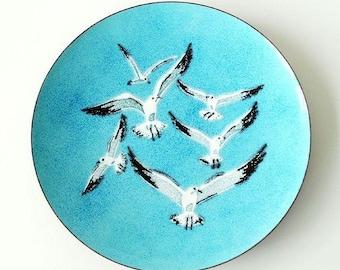Mid-Century Modern Seagull Enamel Tray by AnneMarie Davidson