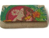 MTO. Custom. Island Girl Burlap Envelope Clutch. Repurposed Honolulu Coffee Company Bag. Handmade in Hawaii.