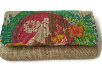 MTO. Custom. Island Girl Burlap Envelope Clutch. Repurposed Honolulu Coffee Company Bag. Handmade in Hawaii.