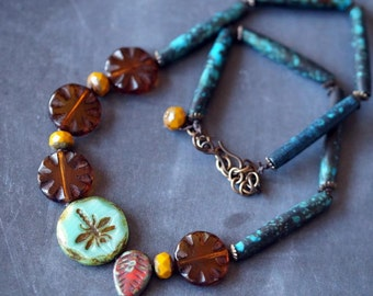 Colorful Tribal Necklace - African Inspired Necklace - Amber and Teal - Bead Soup Jewelry - Dragonfly Necklace