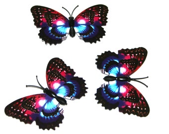 3 Pink and Purple Butterflies for Hair Pins, Favors, Hair Clips, Decor