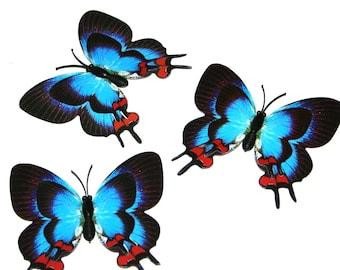 3 Blue Butterflies for Hair Pins, Favors, Hair Clips, Decor