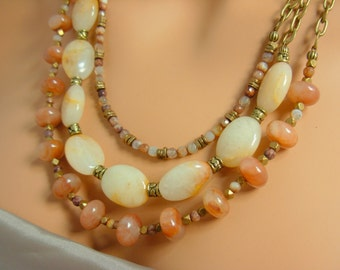 Statement Necklace and Earrings Multi Strand Brass ocean jasper agate peach salmon #2074