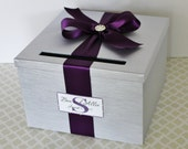 Wedding Card Box Silver Plum Purple Customizable in your Color