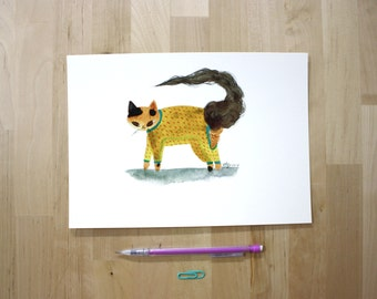 "Cat in Footless Pajamas- 7X10"" Digital Giclee Print"
