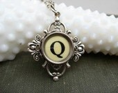 Typewriter Key Jewelry - Necklace - Letter Initial Q