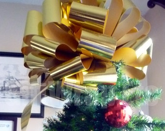 Big  Metallic Gold Bow Christmas Tree Topper Car Gift Store Display Decoration