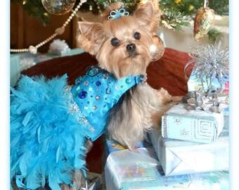 Dog Wedding Dress - Fancy Dog Dress - Swarovski Crystal Rhinestone - Satin Feather Harness Dog Dress -Turquoise - Teal - Dog Christmas Dress