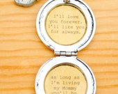 I'll love you forever I'll like you for always - Mother Locket - Antique Silver - Women's Lockets - Quote Lockets - Mom and Me
