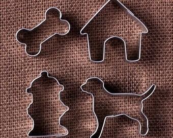 MINI Dog Cookie Cutter Set with Dog Cutter, Hydrant Cutter, Dog House Cutter, Bone, Mini Metal Cookie Cutter Set, Mini Dog Biscuit Cutters