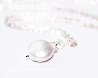 Freshwater Pearl Bridesmaid Necklace Genuine Coin Pearl and Swarovski Crystal Sterling Silver Pendand and Chain
