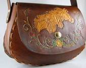Leather Purse Mustang Horse Bag Made to Order Hand Tooled Leather Hand Carved Leather Custom Purse Leather Shoulder Bag Personalized Purse