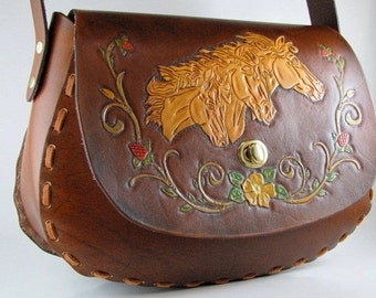 Hand Tooled Leather Purse Mustang Horse Bag Made to Order Hand Tooled Leather Hand Carved Leather Custom Purse Leather Shoulder Bag