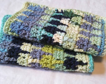 Blue and Green Washcloths Set of 2