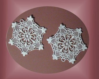 White Lace Embroidered Snowflake Ornament, lace tree ornament, lace snowflake, white lace tree ornament, Christmas ornament