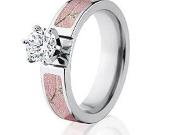 Realtree AP Pink Camo Rings w/ 1 CTW 14k Prong Setting, Womens Camo: Realtree AP Pink-6F14G1RCTW