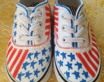 Patriotic, Hand Painted Kids Shoes
