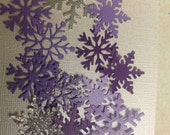 Beautiful Purples silver Paper Snowflakes 40 pc    Shower Confetti    Table Decorations   Wedding