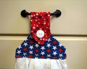 Hanging Kitchen Towel-- Red White And Blue Stars