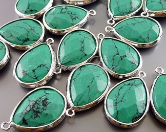 2 green turquoise synthetic stone in silver bezel frame pendants / jewellery supplies 5069R-GT (bright silver, green turquoise, 2 pieces)