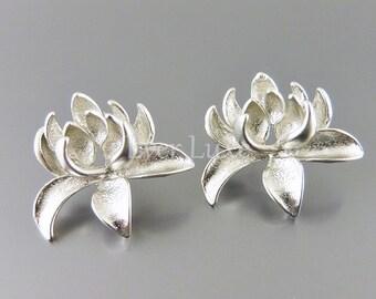 2 lotus flower post earrings, matte silver stud earring findings, jewelry making supplies E1198-MR (matte silver, earrings, 2 pieces)