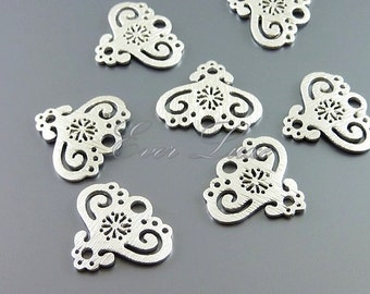 4 small heart lace filigree jewelry pendants, charms, brass findings, jewelry making, craft supplies 1034-MR (matte silver, 4 pieces)