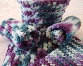 Hand made 100% cotton crocheted wash cloths featured in multi-color.  Can be custom made.