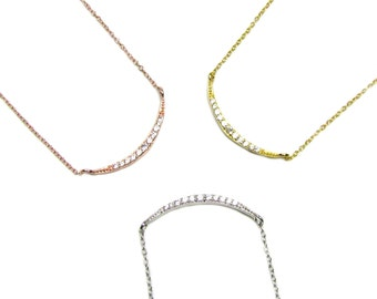 Crescent Moon CZ Necklace, As seen on Kelly Ripa, Dainty Moon Necklace --Sterling silver, Gold Vermeil, Rose Gold Vermeil
