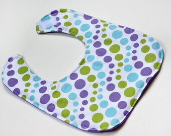 Baby Girl Bib Baby Drool Bib Baby Gift Purple Dots, Baby Shower Gift, Baby Girl Gift, Infant Bib, Soft Flannel Backing