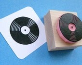 Vinyl Record Hand Carved Rubber Stamp