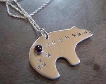 silver zuni  bear necklace . sterling silver bear . birthstone necklace . red garnet necklace