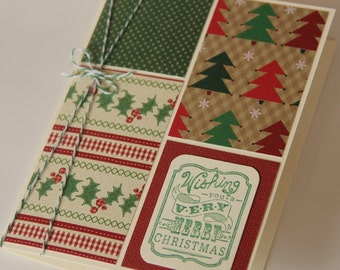 Christmas Card, Wishing You a Very Merry Christmas Card, Patchwork Paper Christmas Card with Trees Holly Polka dots (CC1401)