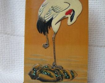 Vintage Pencil or Pen Holder - Asian - China - Wooden Pencil Holder - Craft Use - Supplies - Organizer - Crane - Stork - Bird